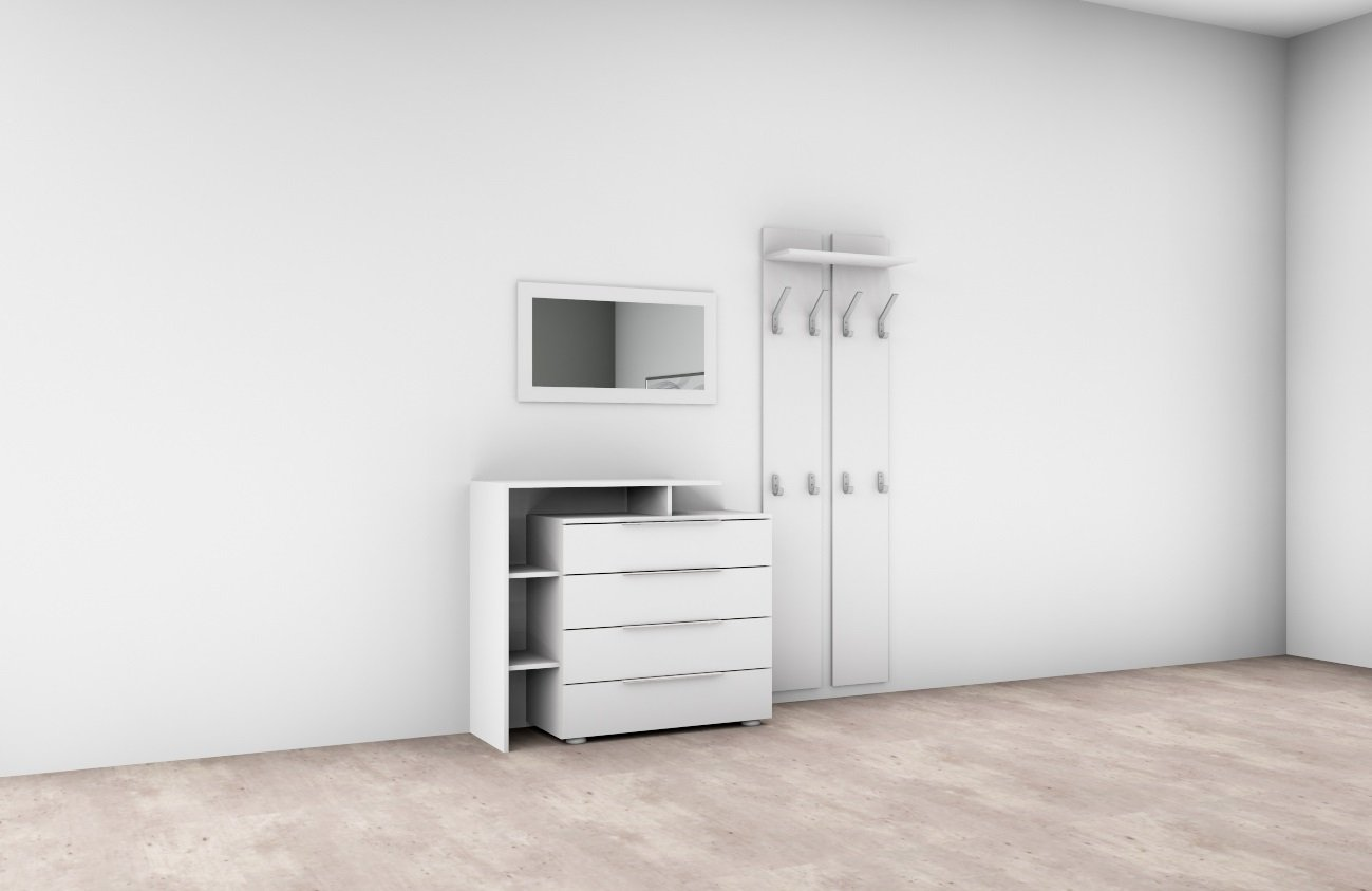 garderobenset garderobe lara 3 kommode paneel spiegel flur diele wei hochglan ebay. Black Bedroom Furniture Sets. Home Design Ideas